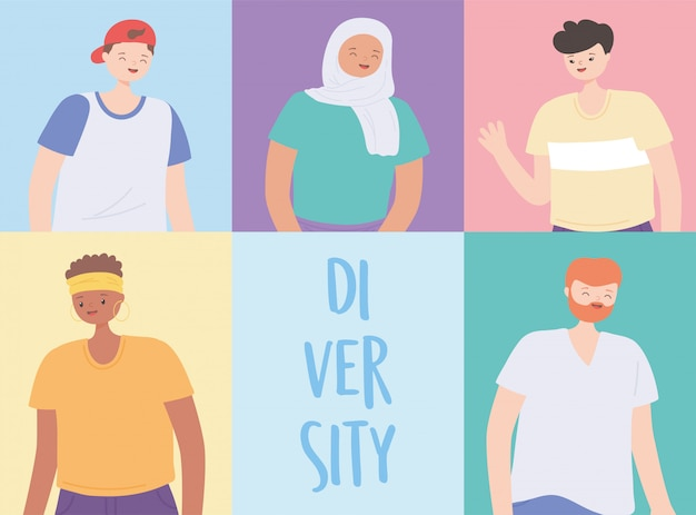 Diverse persone multirazziali e multiculturali, illustrazione di persone globali di culture diverse