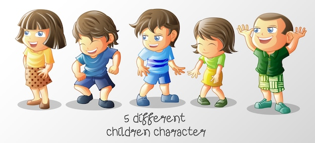 Diversi bambini in stile cartoon.