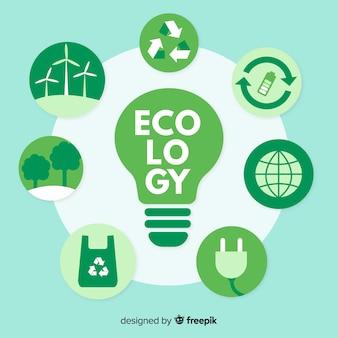 Diversi concetti di ecologia attorno a una lampadina