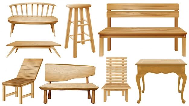 Diversi disegni di sedie in legno