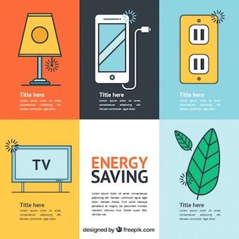 Diversi elementi di risparmio energetico in design piatto