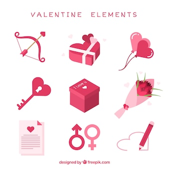 Diversi elementi di san valentino in toni rosa