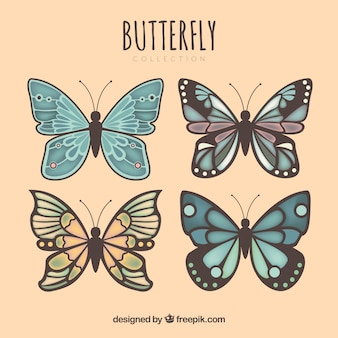 Diversi farfalle decorativi