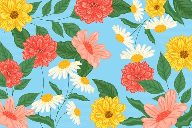 Diversi fiori colorati sullo sfondo