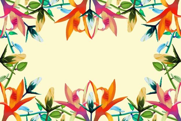 Diversi fiori realistici sullo sfondo