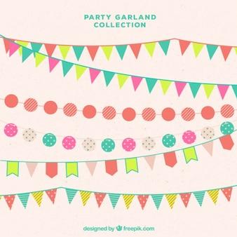 Diversi ghirlande party in stile piatta