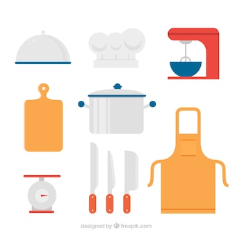 Diversi oggetti di chef colorati nel design piatto