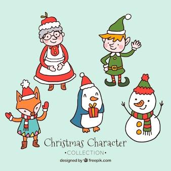Diversi personaggi disegnati a mano di natale