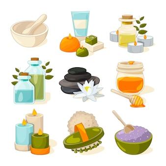 Diversi simboli di spa o salone di bellezza