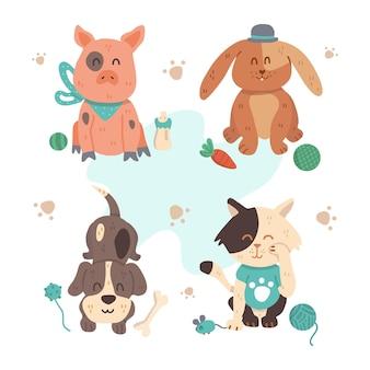 Diversi simpatici animali domestici con i giocattoli
