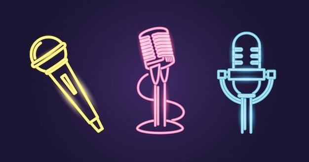 Diversi stili di microfono, percorso colorato al neon