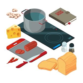 Diversi strumenti di cottura in cucina