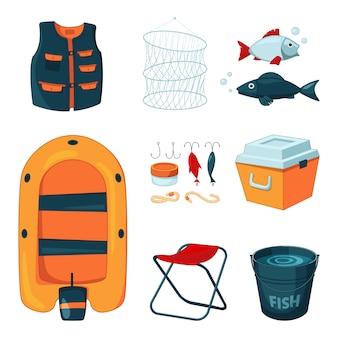 Diversi strumenti per la pesca