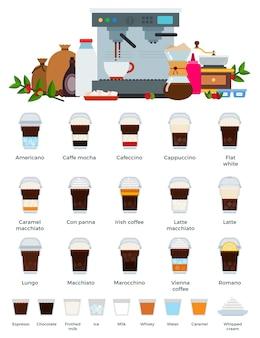 Diversi tipi di bevande al caffè in bicchieri di plastica