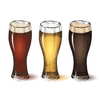 Diversi tipi di birra. schizzo dell'oktoberfest, disegno a mano libera.
