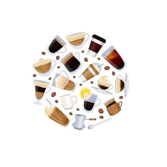 Diversi tipi di caffè con fagioli isolati su bianco