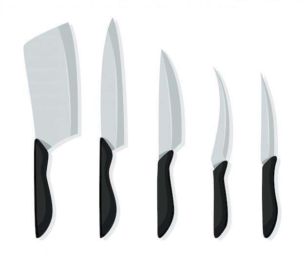 Diversi tipi di coltelli per chef, icona di coltello per macelleria. set di coltelli da macellaio per temi di macelleria di design. coltelli da cucina realistici isolati