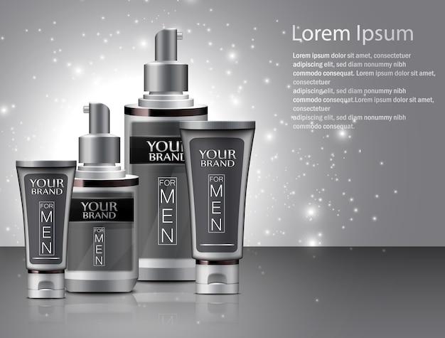 Diversi tipi di cosmetici per uomo