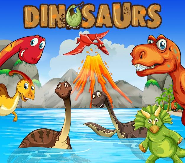 Diversi tipi di dinosauri nell'oceano