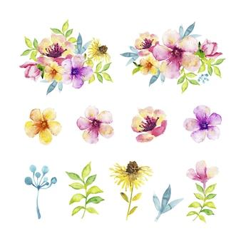 Diversi tipi di fiori e foglie in effetto acquerello