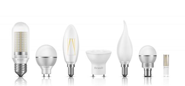 Diversi tipi di forma, dimensioni, base e filamento lampadine a led set realistico 3d isolato su bianco.