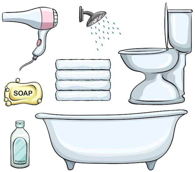 Diversi tipi di oggetti da bagno