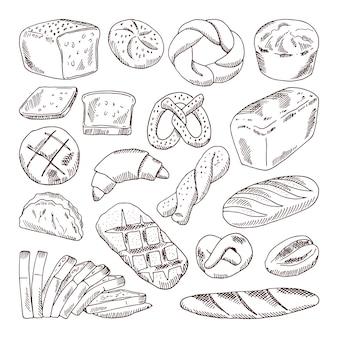 Diversi tipi di pane fresco. illustrazioni disegnate a mano di vettore di prodotti da forno