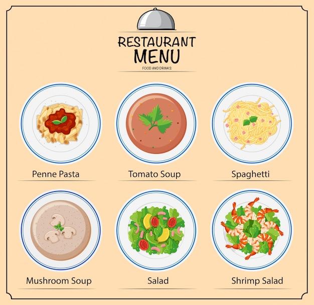 Diversi tipi di piatti sul menu