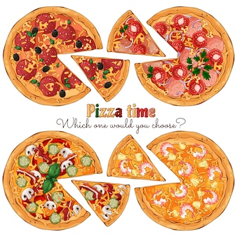 Diversi tipi di pizze da diverse ricette.
