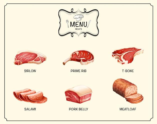 Diversi tipi di prodotti a base di carne