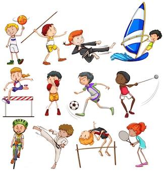Diversi tipi di sport giocato da persone