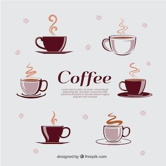 Diversi tipi di tazze con caffè caldo