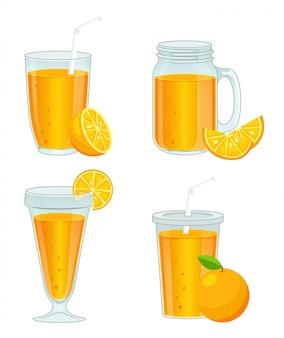 Diversi tipi di tazze di vetro con succo d'arancia