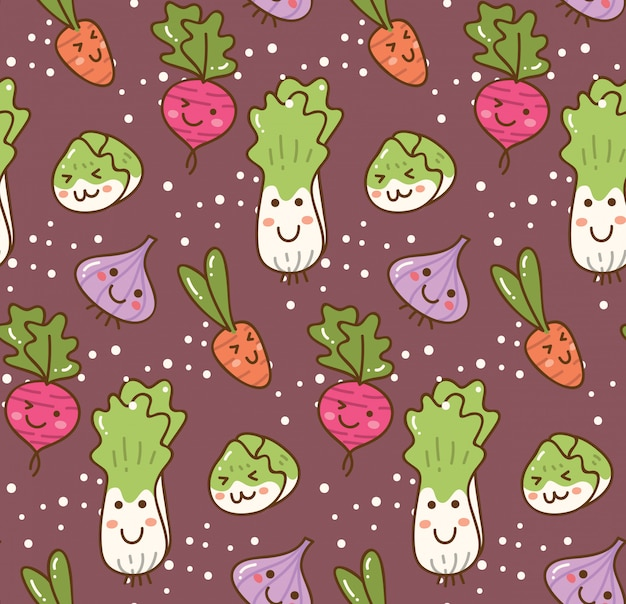 Diversi tipi di verdure kawaii sfondo
