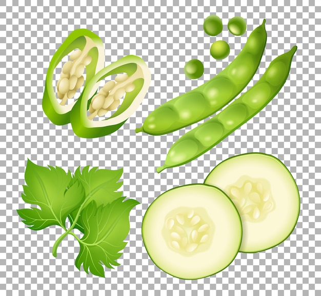 Diversi tipi di verdure su trasparente