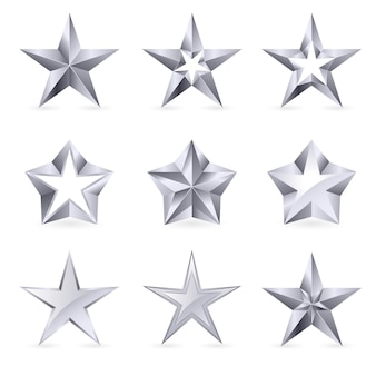 Diversi tipi e forme di stelle d'argento