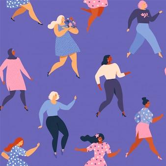 Diversi volti femminili di etnia diversa modello senza giunture.