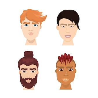 Diversi volti maschili di pantaloni a vita bassa insieme con acconciature alla moda e tagli di capelli isolato collezione di avatar