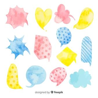 Diversità multicolore di bolle di discorso acquerellate