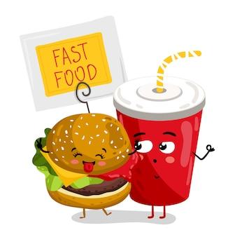 Divertente asporto personaggio dei cartoni animati di vetro e hamburger