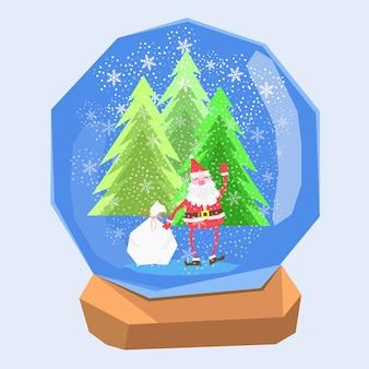 Divertente babbo natale nella sfera di cristallo di natale scena neve di natale