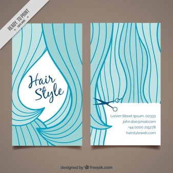 Divertente capelli lunghi card design parrucchiere