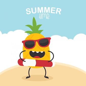 Divertente carattere estate ananas