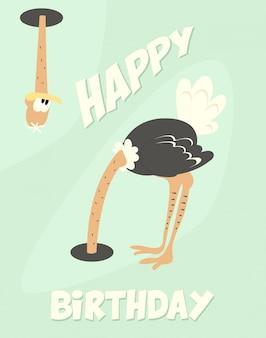 Divertente cartolina di compleanno felice con struzzo carino