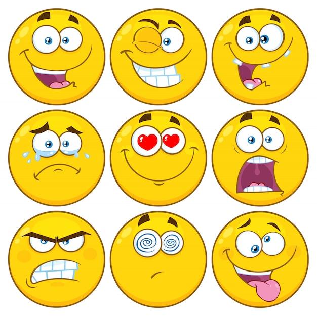 Divertente cartone animato giallo emoji face series set di caratteri