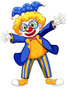 Divertente clown indossa giacca blu e occhiali