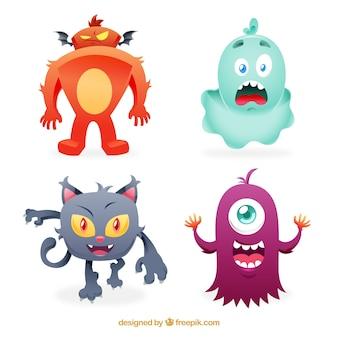 Divertente collezione di mostri disegnata in mano stile