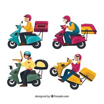 Divertente collezione di uomini di consegna su scooter