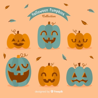 Divertente collezione di zucca di halloween con design piatto