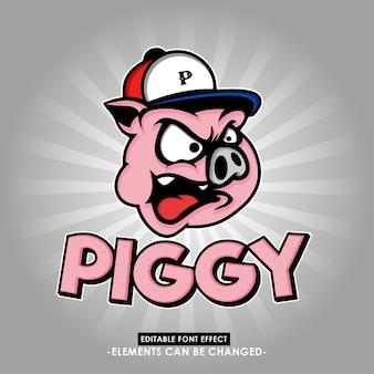 Divertente e accattivante illustrazione testa di maiale con effetto fantasia font